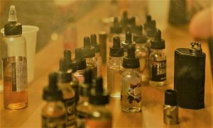 E liquids with nicotine on a table